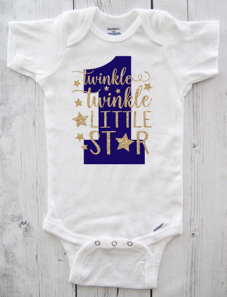 b9d4b5e25 Twinkle Twinkle Little Star First Birthday Onesie in navy blue | Etsy