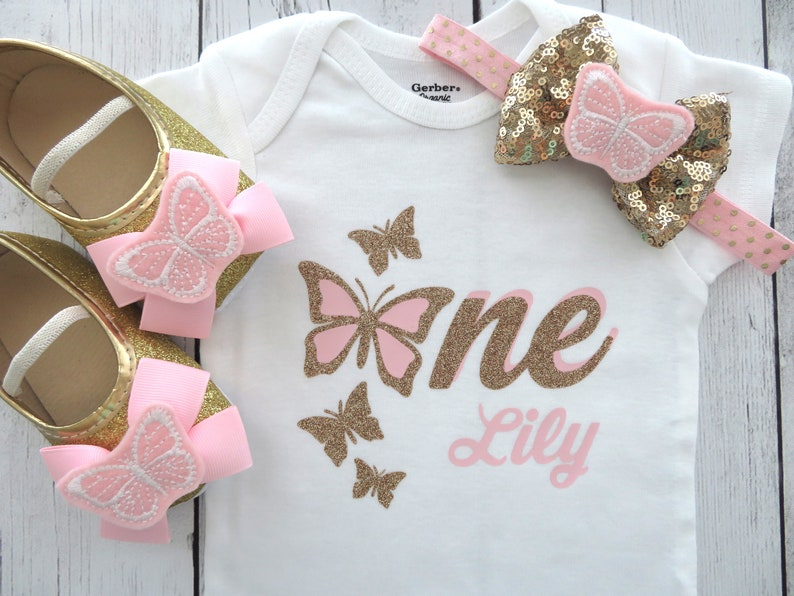 540f2efc1 Butterfly First Birthday Onesie in pink and gold girl first | Etsy