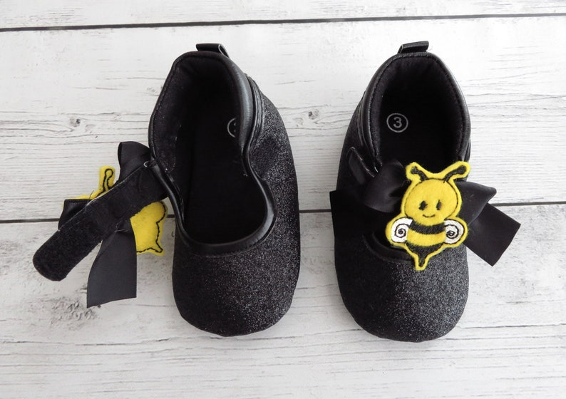 c1f1255df0cec CLEARANCE SALE - Bee First Birthday Shoes - first walkers, first birthday  shoes, soft sole shoes, bee 1st bday shoes, bumblebee