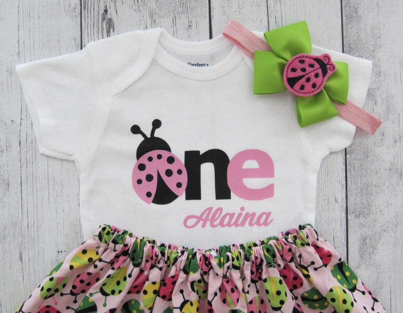 2b2470bb Ladybug First Birthday Outfit pink lime pink ladybug first | Etsy