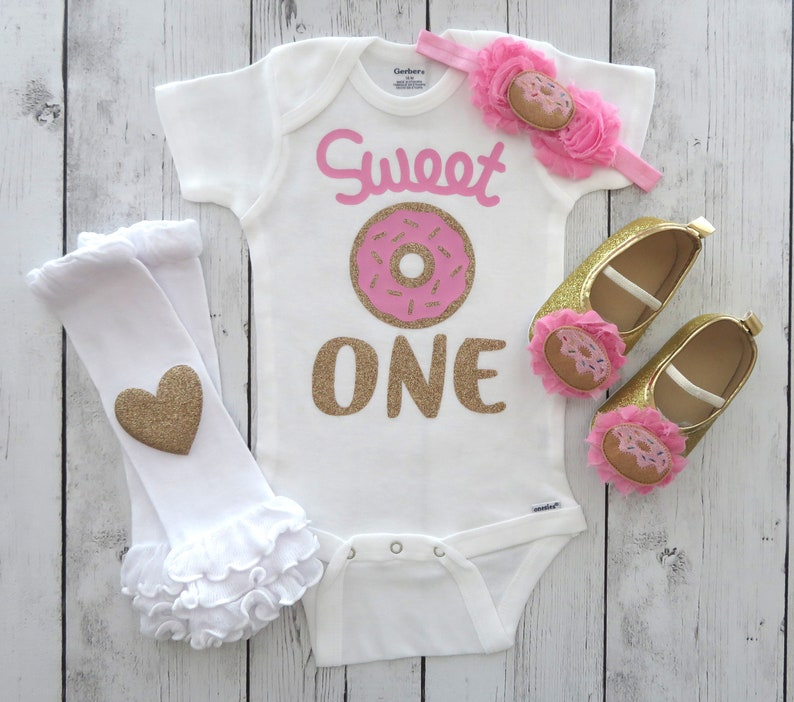 0c3ac4ed0 Sweet One Donut First Birthday Onesie in pink and gold donut | Etsy