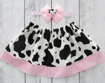 Cow Skirt for baby girl - cowgirl skirt, barnyard birthday, cow birthday, cow halloween costume, cow skirt girl, baby girl skirt, cow pink