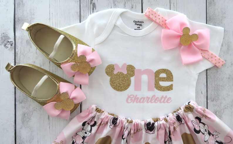 04b8398751899 Pink and Gold Minnie Mouse First Birthday Outfit with minnie shoes -  personalized outfit, pink gold minnie birthday, 1st bday outfit girl