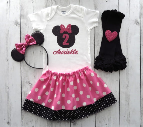 handmade girls pink Minnie Mouse second 2nd birthday tutu outfit polkadot