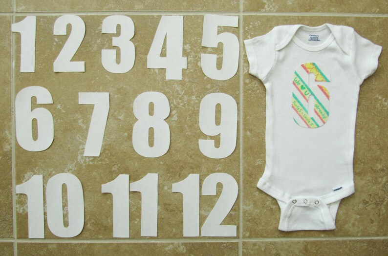 9e488bb206ef Monthly Onesie Stickers in Plain White Set of 12 IRON-ON