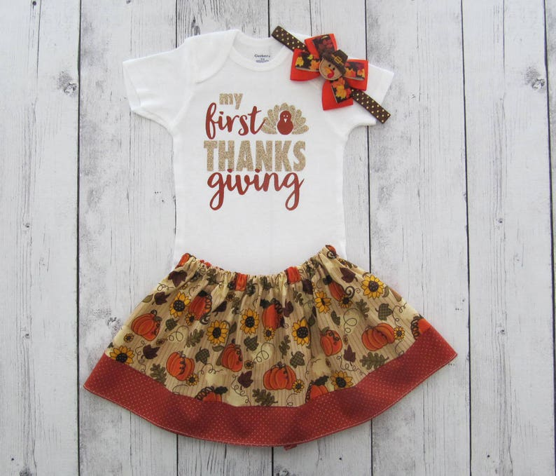 bc34c6671 My First Thanksgiving Outfit for Baby Girl onesie and skirt | Etsy