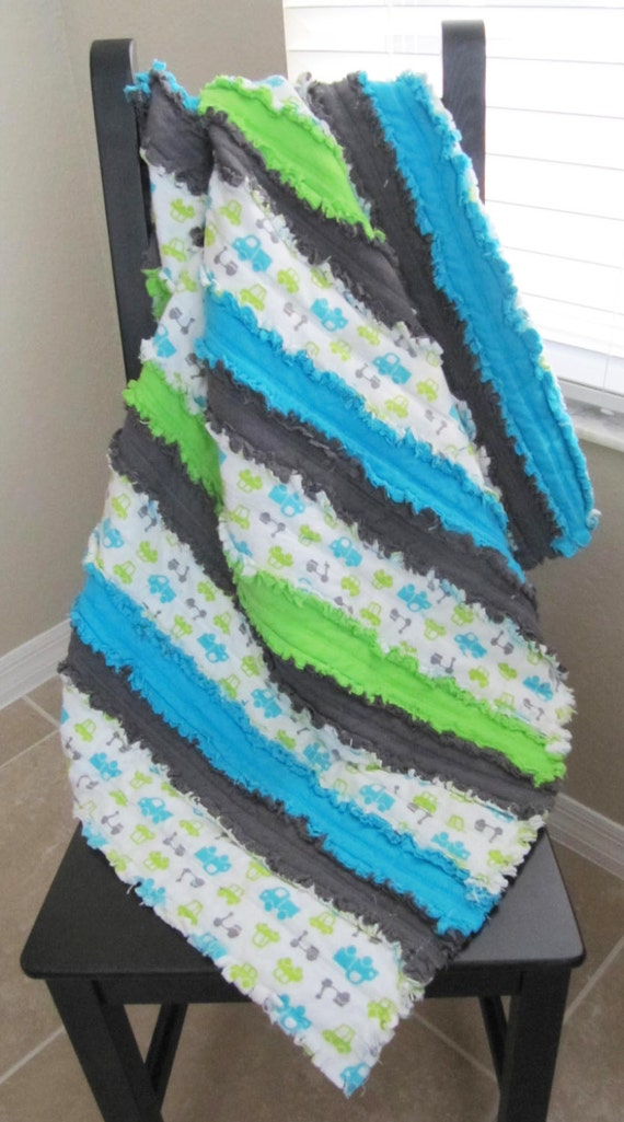 Baby Boy Jelly Roll Rag Quilt In Blue Green And Grey Etsy