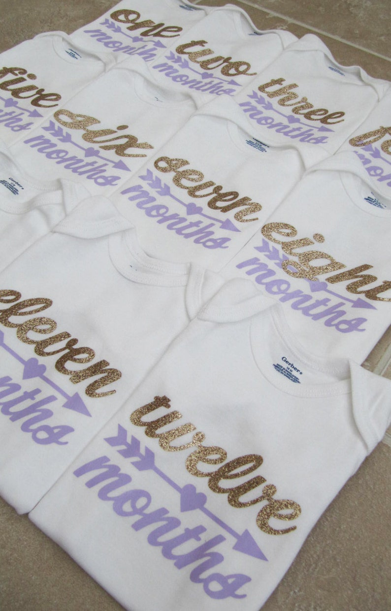 30842d7ac535 Lavender and Gold Glitter Monthly Onesies Set 1-12 for Baby