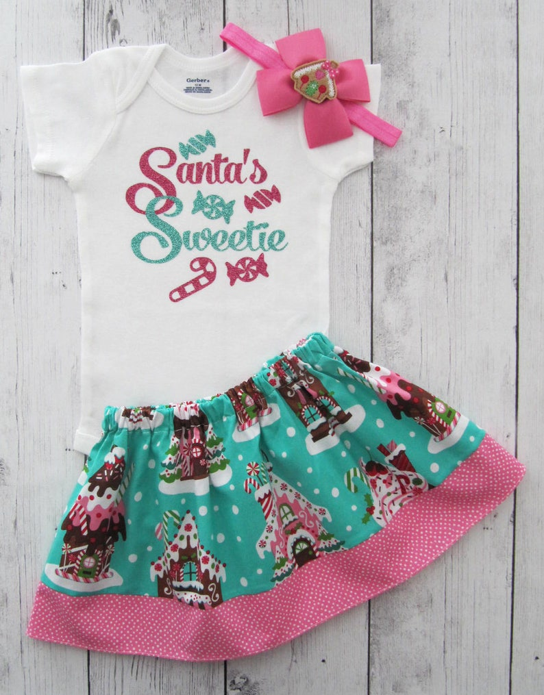 21fb3da75 Baby Girl Christmas Outfit Santa s Sweetie My First