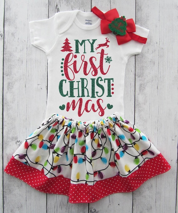ea3662726566 My First Christmas Outfit for Baby Girl in red and green | Etsy