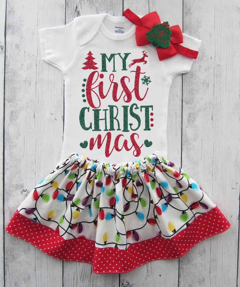 holiday outfit 1st xmas outfit girl baby/'s first christmas leg warmers My First Christmas Outfit for Baby Girl in red and green glitter