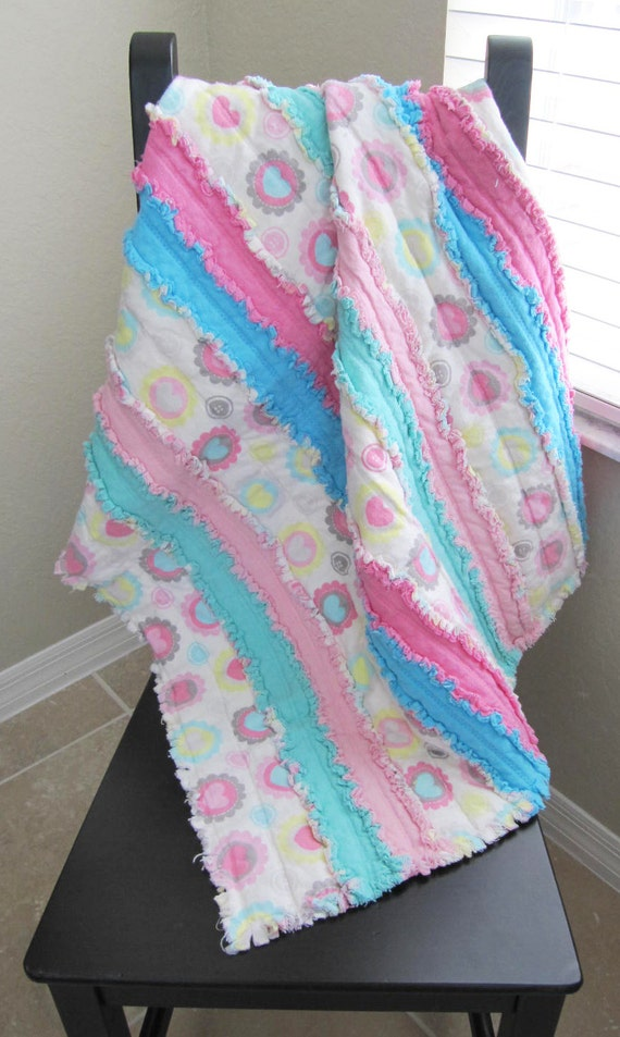 Jelly Roll Rag Quilt For Babytoddler Pink Blue Mint Etsy