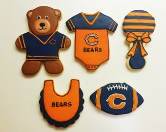 Baby Shower Chicago Bears Decorated Sugar Cookies