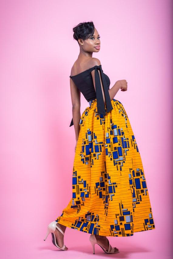 ankara Esme Print maxi skirts dashiki wax skirt African Skirt fabric dresses clothing African Handmade African African robe 11rwBqa