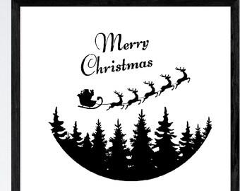 Santa Sleigh Merry Christmas Decal