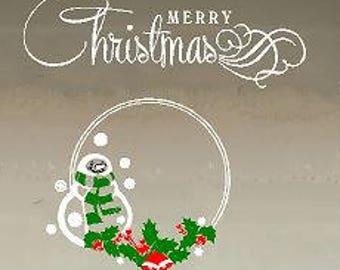 Vinyl Decal - Snowman Merry Christmas - Holiday - Christmas