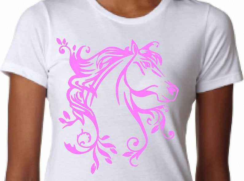 Youth Girls T-shirts White Cute Horse Design Pink
