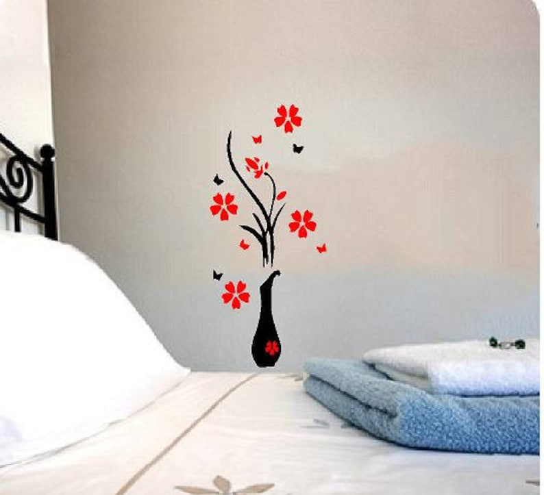 VInyl Wall Art  Decal  Deco  Flower with Vase image 0