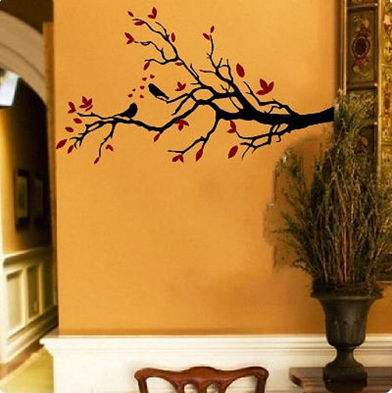 Vinyl Wall Quote  Birds on  Branch with Vibrant Leaves Brown