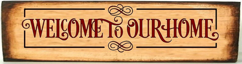 Welcome to Our Home  Vinyl Decal  Welcome Sign  Front Porch Brown