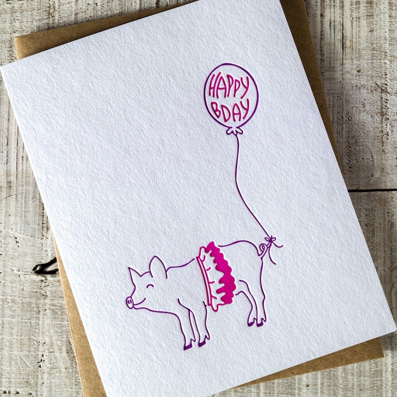 Pig Party Animal Happy Birthday Letterpress Card image 0