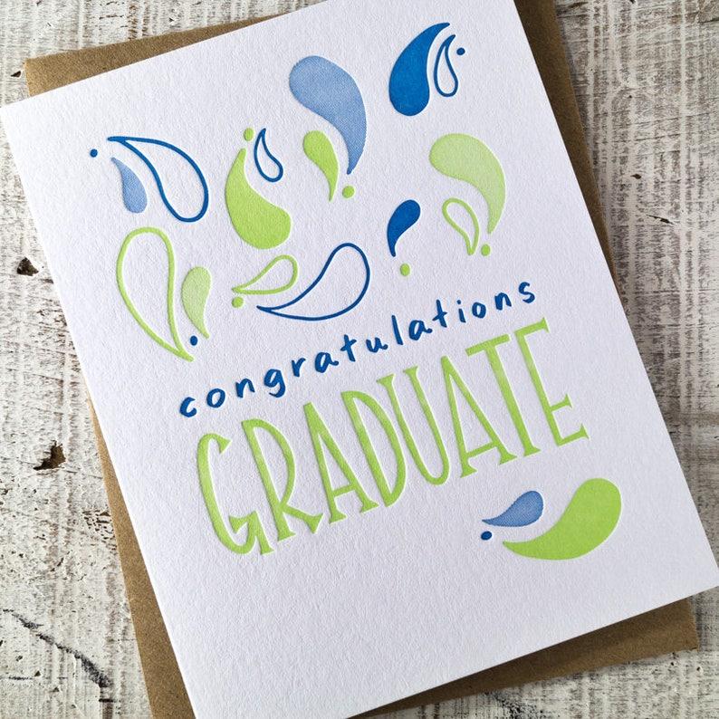 Congratulations Graduate Paisley Graduation Letterpress Card image 0