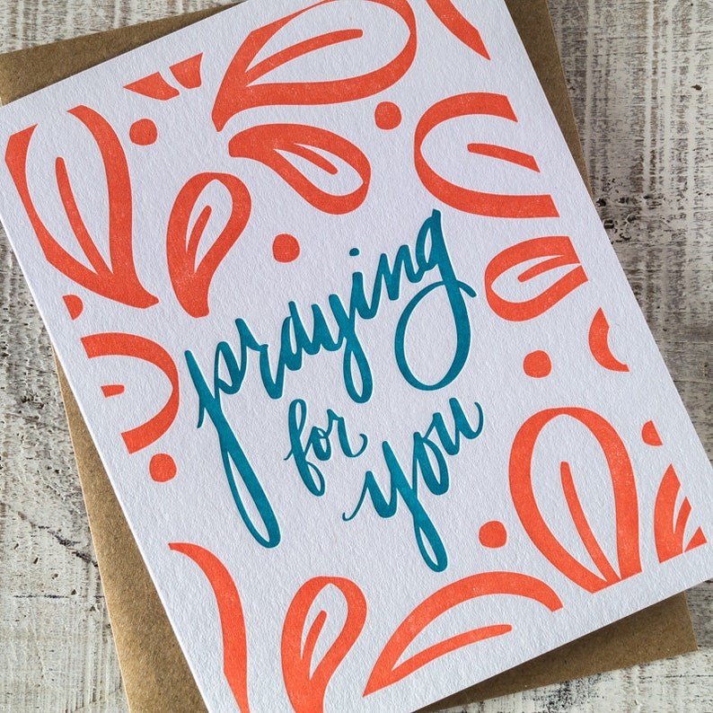 Praying for You Letterpress Card image 0