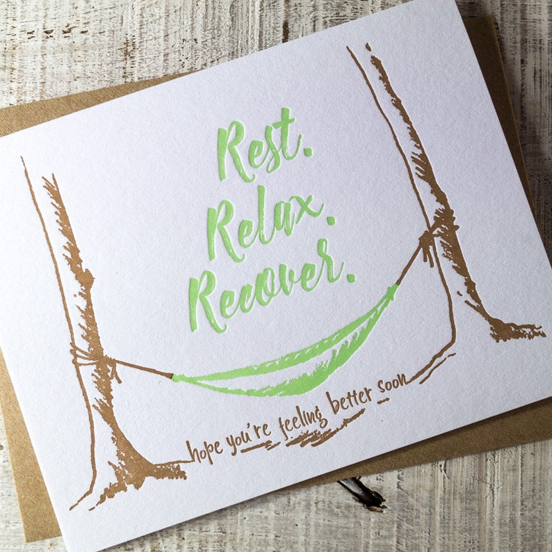 Rest Relax Recover Letterpress Card image 0