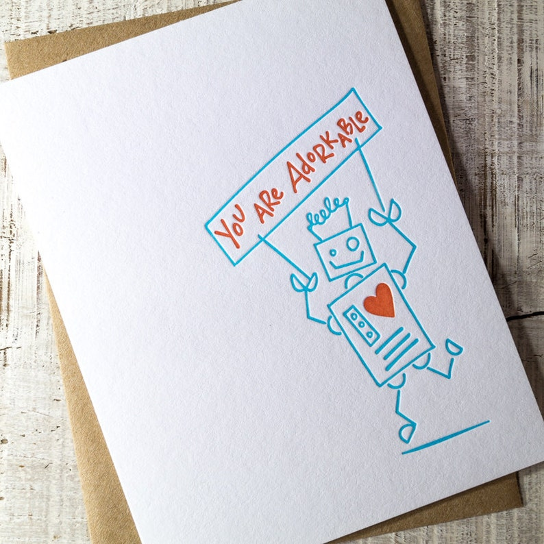 Adorkable Robot Letterpress Card image 0
