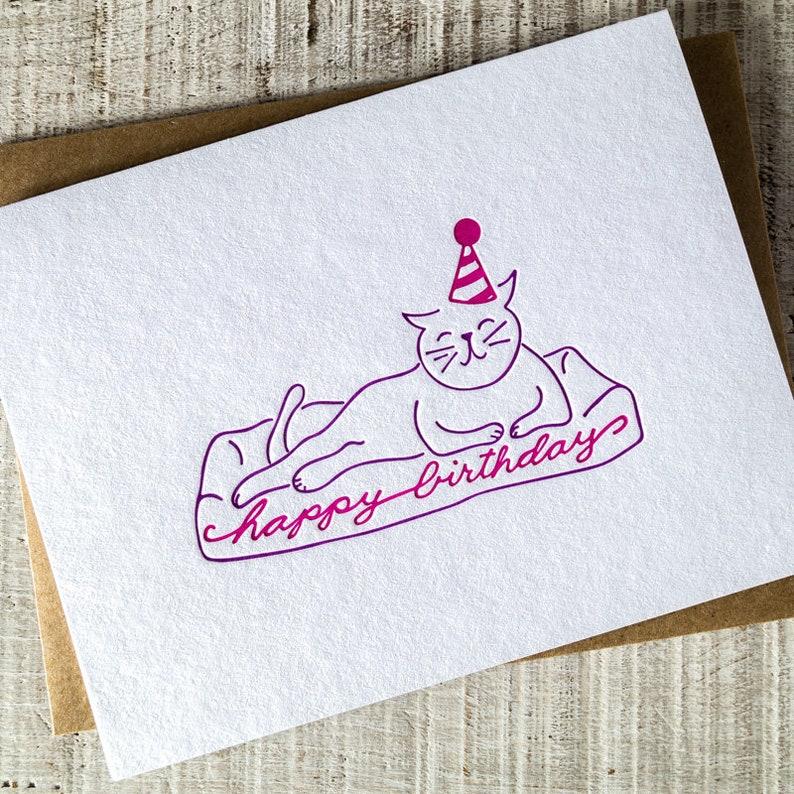 Cat Party Animal Happy Birthday Letterpress Card image 0