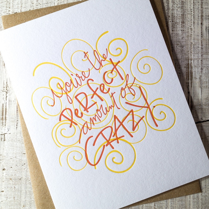 Perfectly Crazy Letterpress Card image 0