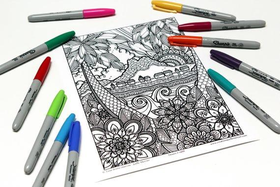 Mandala colorier dessin 1488 imprim sur carton coloriage etsy - Coloriage tahiti ...