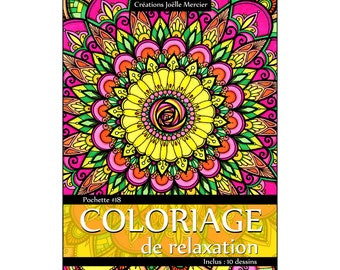 Pouch #18-10 designs - relaxation coloring - flowers floral mandalas