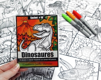 Bag #10 Dinosaurs, included 15 colouring drawings, printed on cardboard, 4x5 inch format