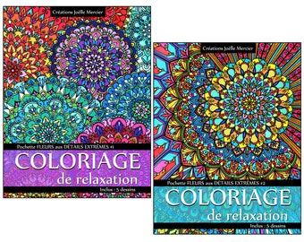 Lot of 2 relaxation coloring pouches - Flowers with extreme details #1 - #2 - total of 10 designs, mandala