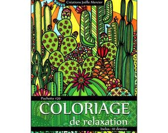 pocket #20 - 10 designs - relaxation coloring - Cactus, lemonade, Capri, Tango, garden dwarf, flowers, frog, sand castle