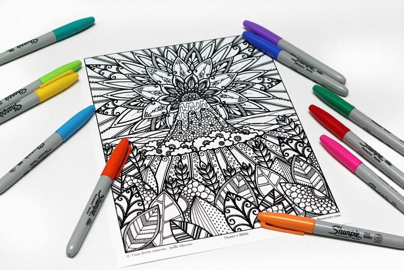 Coloriage Mandala Volcan.Mandala A Colorier Dessin 8889 Imprime Sur Carton Coloriage Etsy