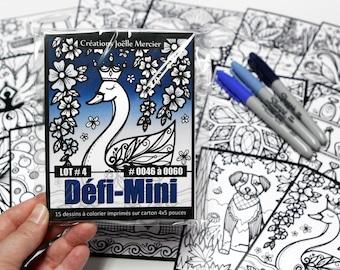DEFI-MINI bag, LOT #4, 15 cardboard printed designs, 4x5-inch format, Minis #0046 to 0060