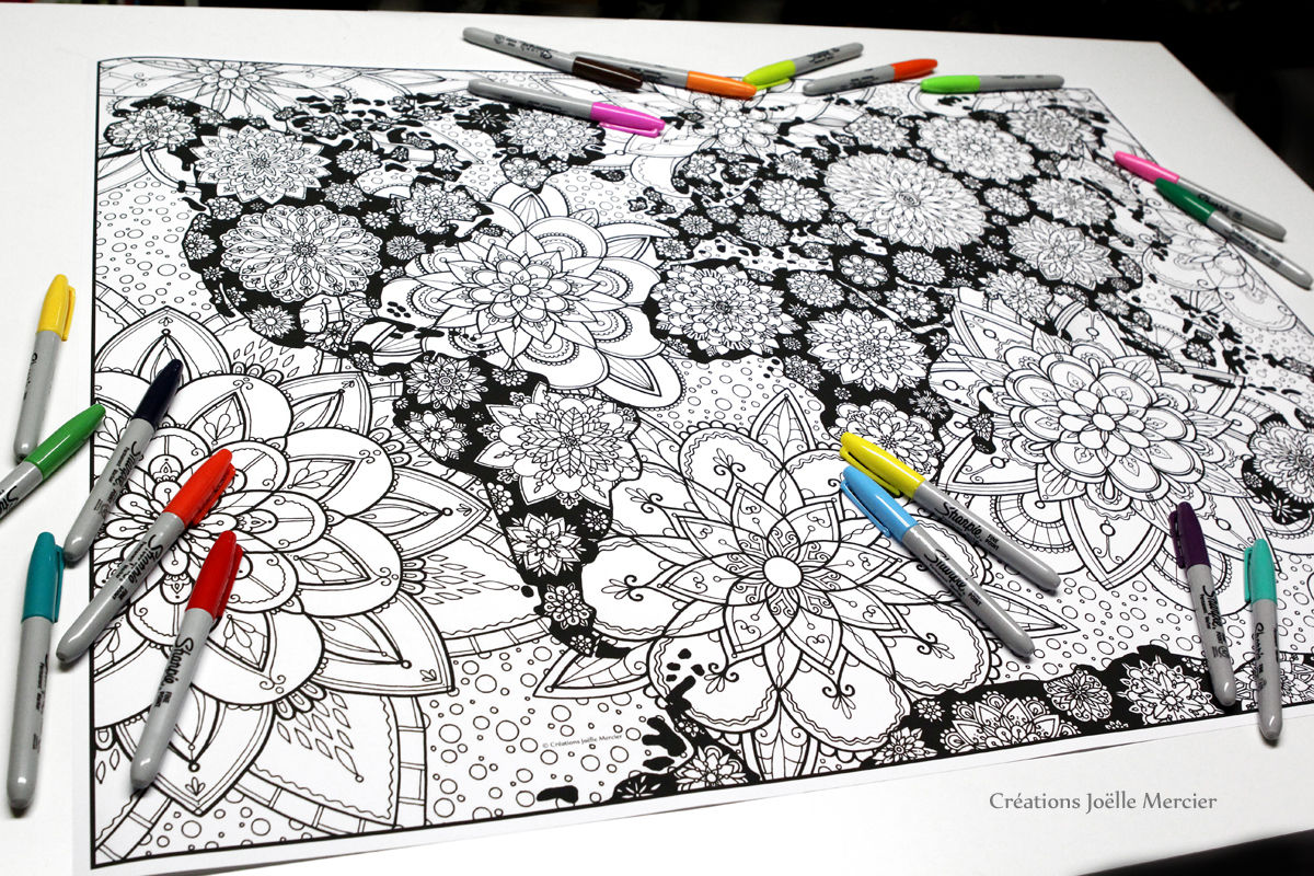 Coloring World Map Version Oceans Blossoms Giant Poster 24 X 30 Mandalas Flowers