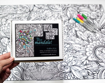 Box #19, My giant mandala puzzle break, 25 small-format coloring drawings, HUGE ABSTRAIT puzzle