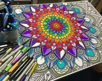 Coloring poster, Mandala style flower #2, giant coloring for adult or family, quality paper, large format