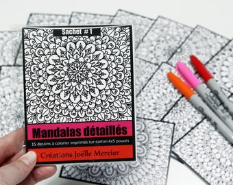 Bag #1 Mandalas detailed, included 15 colouring drawings, printed on cardboard, 4x5 inch format