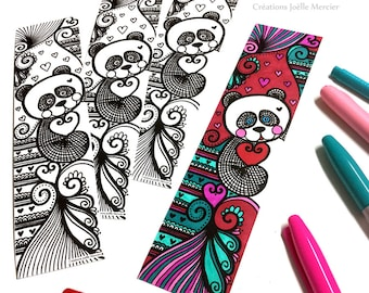 Panda bookmark coloring bookmark