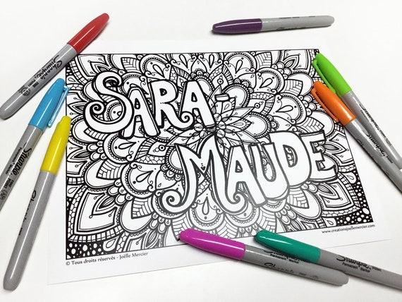 Dessin personnalis pr nom colorier sur fond de dessin etsy - Mandala garcon ...