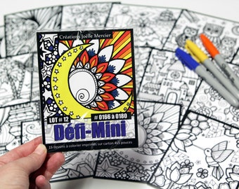 DEFI-MINI bag, LOT #12, 15 cardboard printed designs, 4x5-inch format, Minis #0166 to 0180