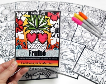 Fruity #25 bag, included 15 coloring drawings, printed on cardboard, 4x5 inches format