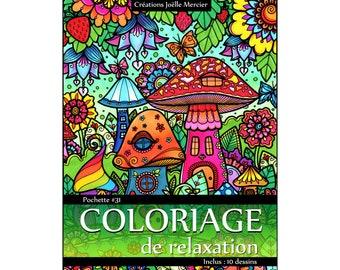 Pocket #31 - 10 drawings - Coloring relaxation - Paris, London, Sugar Shack, train.