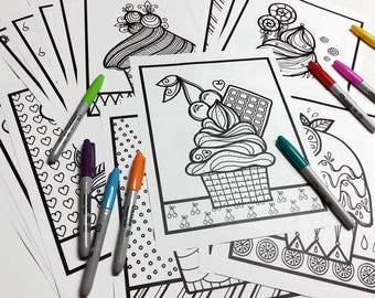 Set of 30 drawings to color, cupcakes, 8.5 x 11 inches