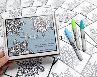 Box #2 break mandala special snowflakes (6-pointed mandalas), includes 30 small drawings to color every day