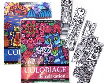 TRIO cats! Coloring for relaxation and pouches cats #1 #2 (total of 10 designs) + a lot of 5 bookmarks coloring
